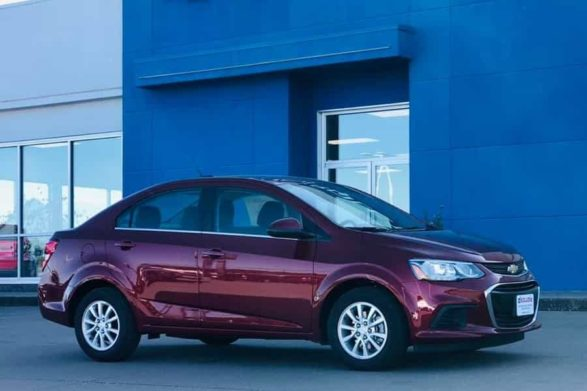 a maroon 2020 chevrolet sonic