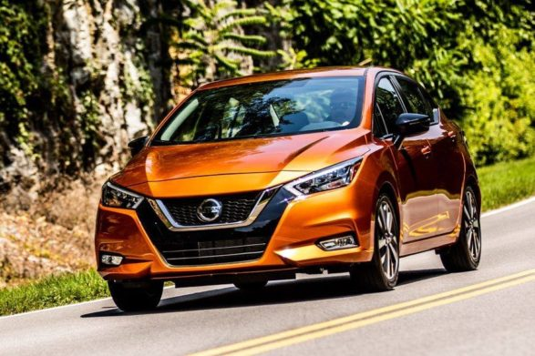 an orange 2020 nissan versa