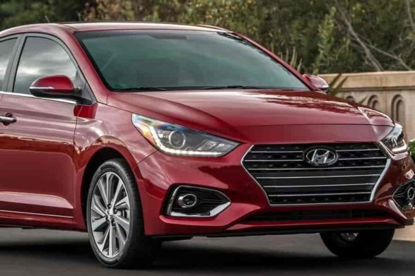 a red 2020 hyundai accent