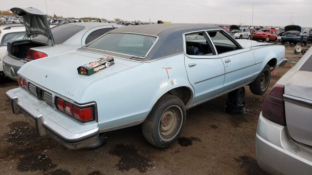 1974 Mercury Montego MX Brougham in Colorado junkyard, RH rear view - ©2020 Murilee Martin - The Truth About Cars