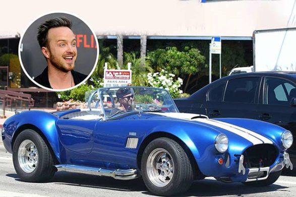 aaron paul driving his blue car