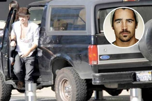 colin farrell getting out of his vintage suv
