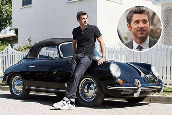patrick dempsey leaning on his black convertible
