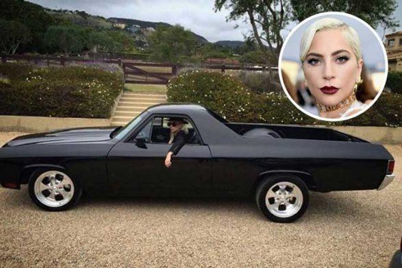 lady gaga in her vintage black car