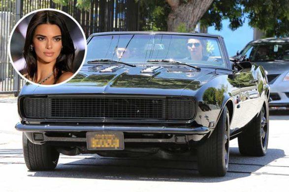 kendall jenner driving her vintage black convertible