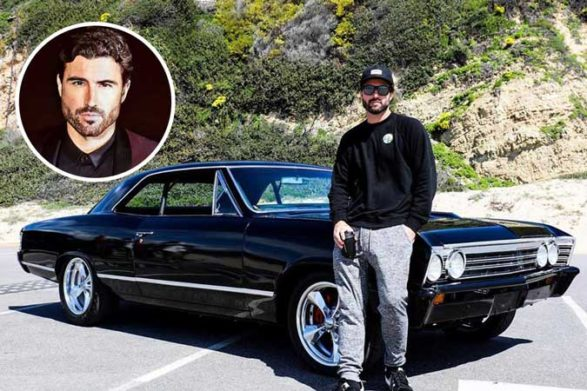 brody jenner sitting on the hood of his vintage car