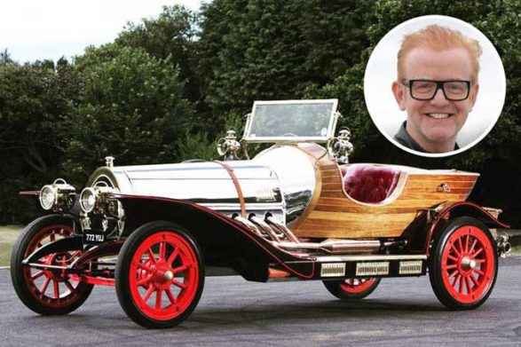 the chitty chitty bang bang car and a picture of presenter chris evans
