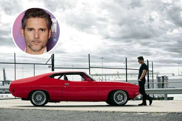 eric bana and his red car