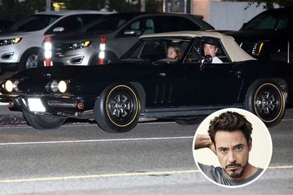 robert downey jr driving his black convertible