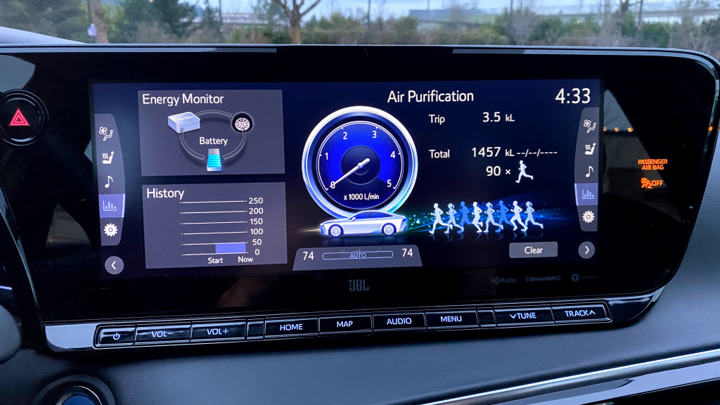 Air purification displays - 2021 Toyota Mirai
