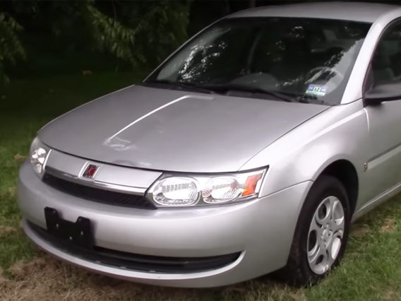 the front half of a silver saturn ion