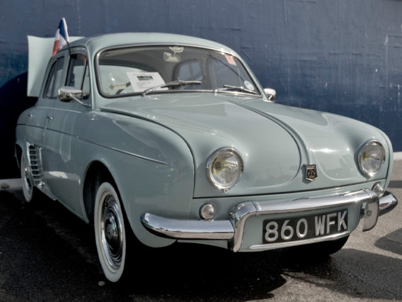a pale baby blue renault dauphine