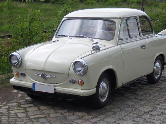 a white cream colored trabant