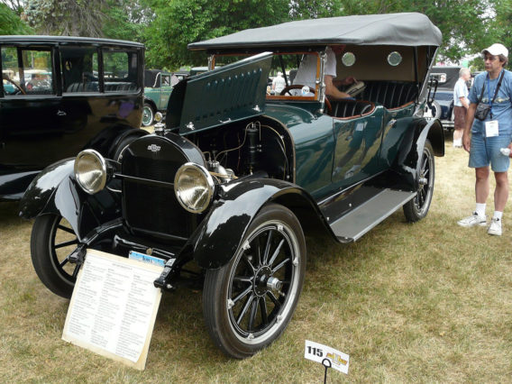 1917 Chevrolet Series D with the hood up showing the engine compartment