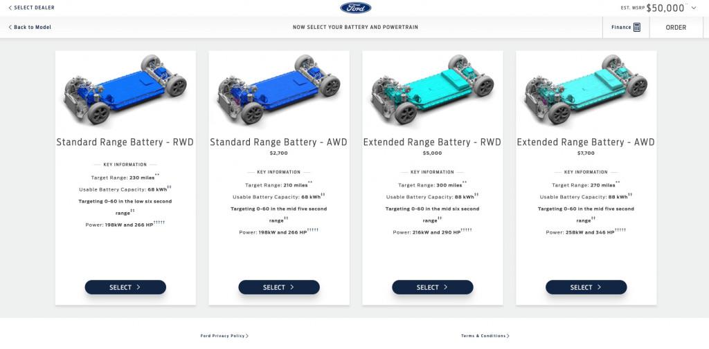 Ford Mach-E Premium build configurations - July 2020