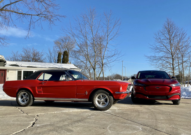 2021 Ford Mustang Mach-E and 1967 Ford Mustang coupe