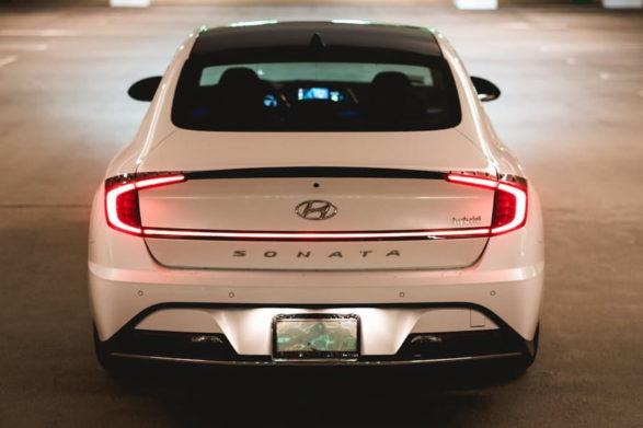 the rear and taillights of a 2020 hyundai sonata hybrid