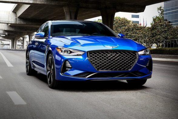 a dark blue 2020 genesis g70