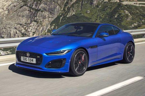 a blue 2019 jaguar f-type