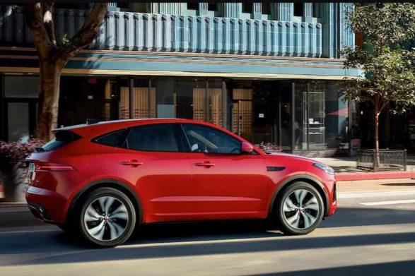 a red 2021 jaguar e-pace