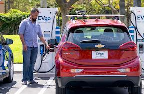 Chevrolet Bolt EV charging at EVgo DC fast charge station